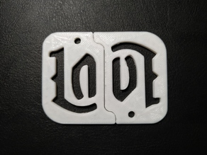 Love ambigram keychain
