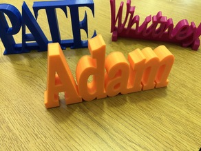 Adam, PATE, & Whitney 3d Printed names