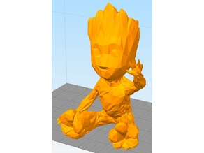 Low Poly Waving Baby Groot