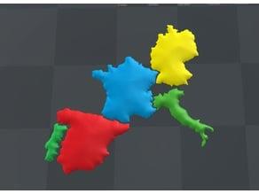 Mapa 3D, Paises Europa