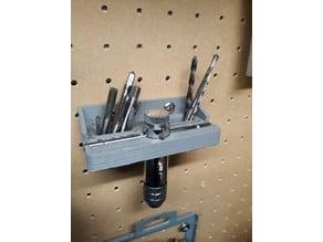 Peg board hand threader holder