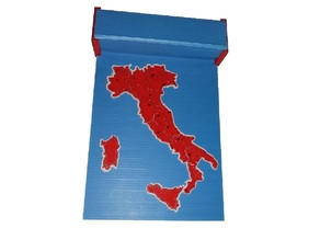Italian region puzzle map with storage box