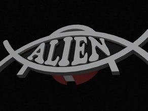 Alien Saucer Fish symbol badge cover