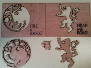 Game of Thrones House Sigils Laser Cut Template