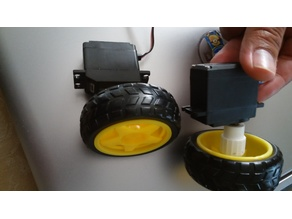 RC servo to yellow DC motor wheel adapter for robots