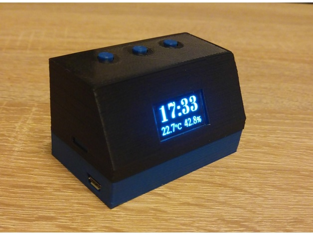 Retro desktop temperature sensor clock weather station