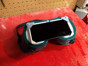 Welding glass to Harbor Freight goggles adapter for eclipse viewing