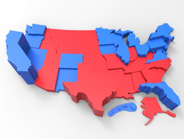 Customizable USA Electoral College Map By TheNewHobbyist Thingiverse - Us map electoral to color