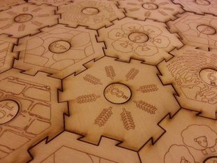 Settlers of Catan laser-cut interlocking tiles