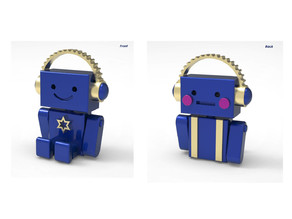 Mini robot listening to music miniature