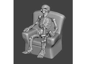 FWW - Fallout Wasteland Warfare Skeleton in Chair, Watching the world burn