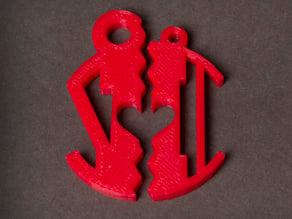 Customizable Half Heart Monogram Pendant