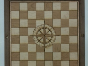 Laser Cut Chess Board with Compass Rose Inlay