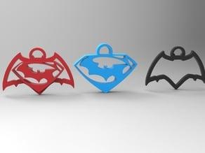 batman vs superman keychain/necklace/earrings