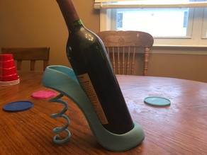 Wine Holder with Corkscrew Heel