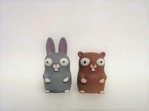 Beaver Bunny & Gopher Finger Puppets