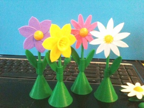 Flower Signs on stems, as pins, as magnets