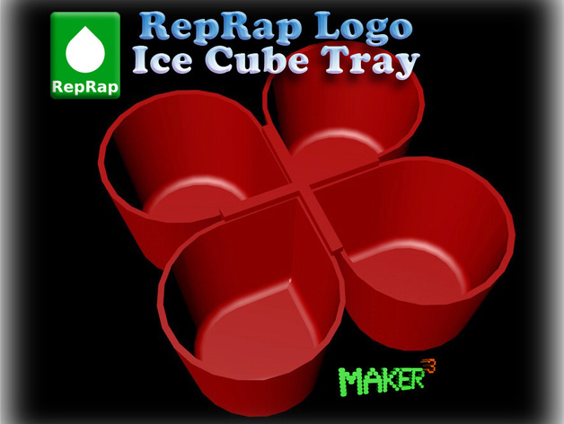reprap logo ice cube tray parametric by makercubed