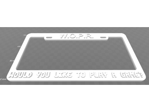WOPR - Would you like to play a game, License Plate Frame