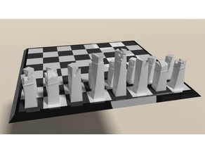 Modern chess set and board