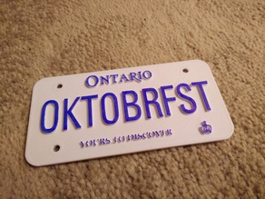 Customizable Ontario License Plate