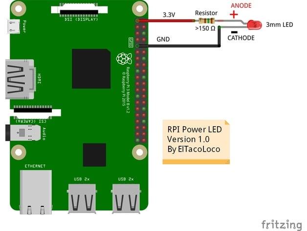 Raspberry Pi zero Power LED