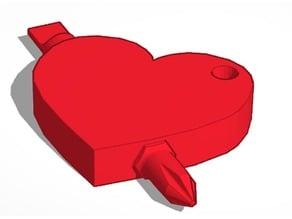 Arrow Through Heart Screw Driver Keychain