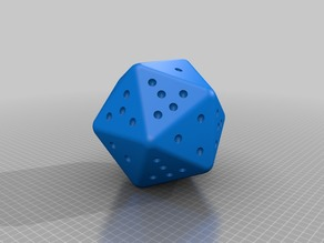 D20 Icosahedron with Sides 1-6 x3 and two Stars