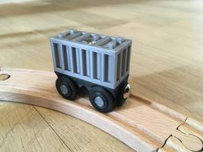 Wagon and container for wooden train