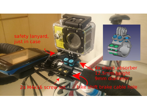 action cam mount on bike with vibration absorb