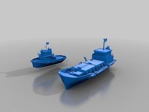 Cargo ship and tug boat
