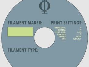 Basic Filament Spool Label