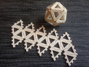 Customizable hinge/snap Icosahedron net