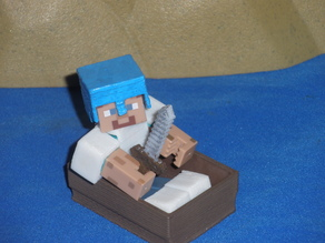 Boat from Minecraft scaled to Minecraft figures sold in stores