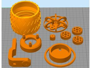 Mars rover wheel with motor and planetary gearbox