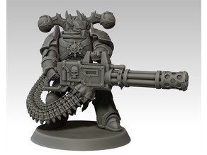 Evil space warrior with gatling gun