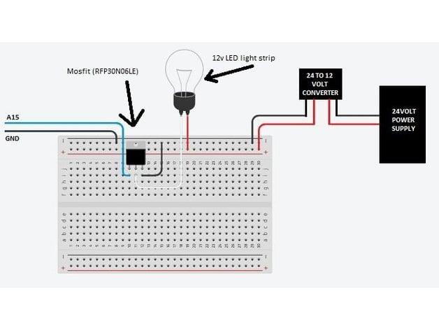 tevo tornado octoprint controlled led light bar by jdm755 thingiverse led light wiring diagram pin stl led light bar wiring diagrams #19