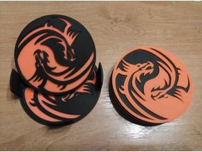 Dragon yinyan coasters and holder