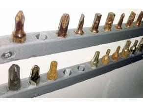 single row 11pcs screwdriver bit holder wall mount 7.5mm