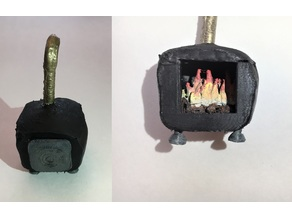 Miniature Wood Stove with Lid and Fire