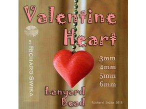 Valentine Heart Lanyard Bead for Lamp Pull, Shoelace, Pendant, Paracord