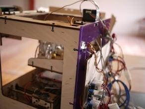 Thing-o-matic modified backplane to accomodate rear-mounted electronics