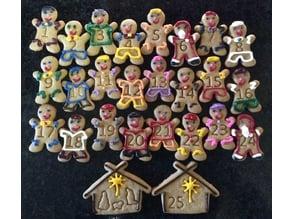 Gingerbread Man Advent Calendar Cookie Cutter Set
