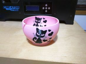 Yarn Bowl with Kitty Motif