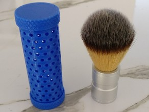 Synthetic shaving brush travel container