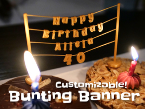 Bunting Banner (birthday, plants)