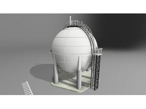 N Scale Small Industrial Liquid Gas Storage Tank Sphere