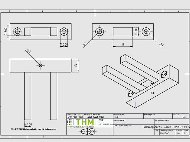 ANET A8 X- axis belt Tensioner (x- Achsen Riemenspanner) M4