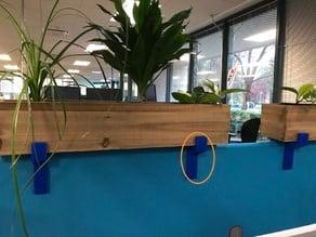 Planter Bracket: attach a planter atop a cubicle partition