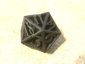 20 sided die printed in two halves